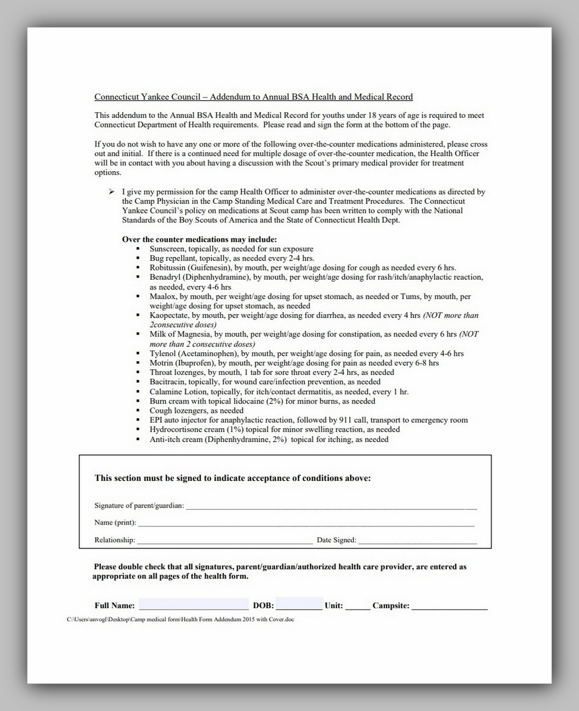 Boy Scouts Medical Form 05