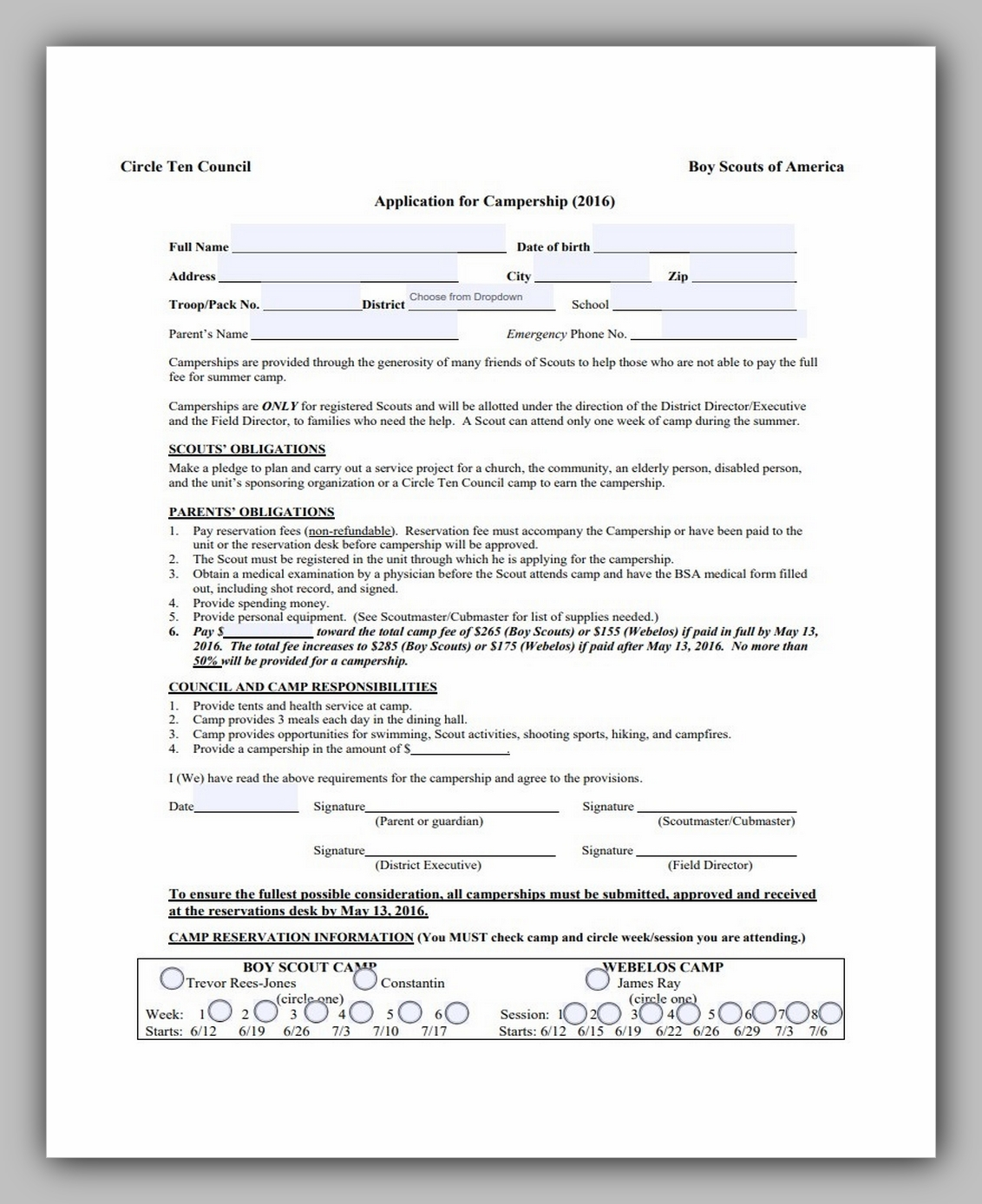 Boy Scouts Medical Form 07