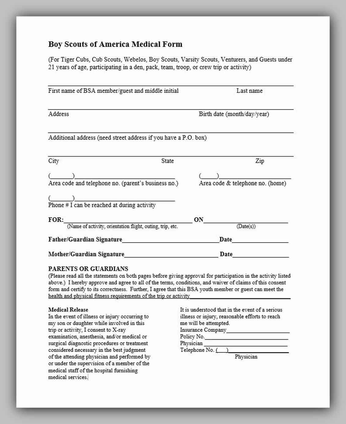 Boy Scouts Of America Medical Form