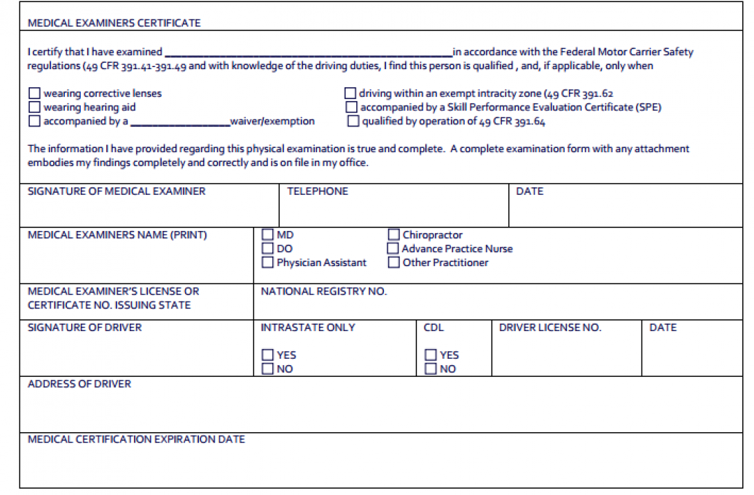 cdl dot physical forms dmv medical certification md doctors form insurance universal