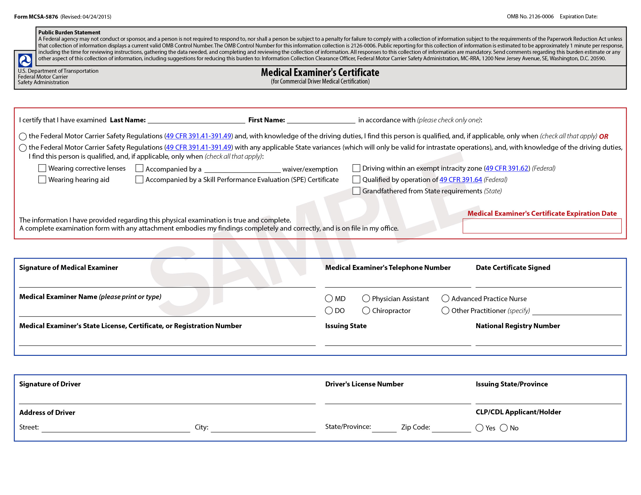 certificate medical dot physical forms dmv template cdl certification pa doctors templates form formats sample 5876 mcsa universal