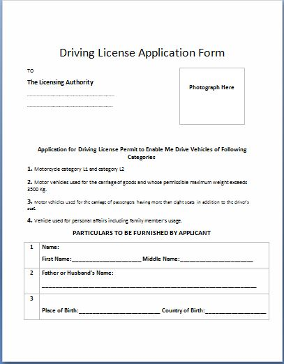 Driving License Application Form Template