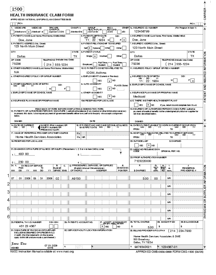 Claim Form Examples