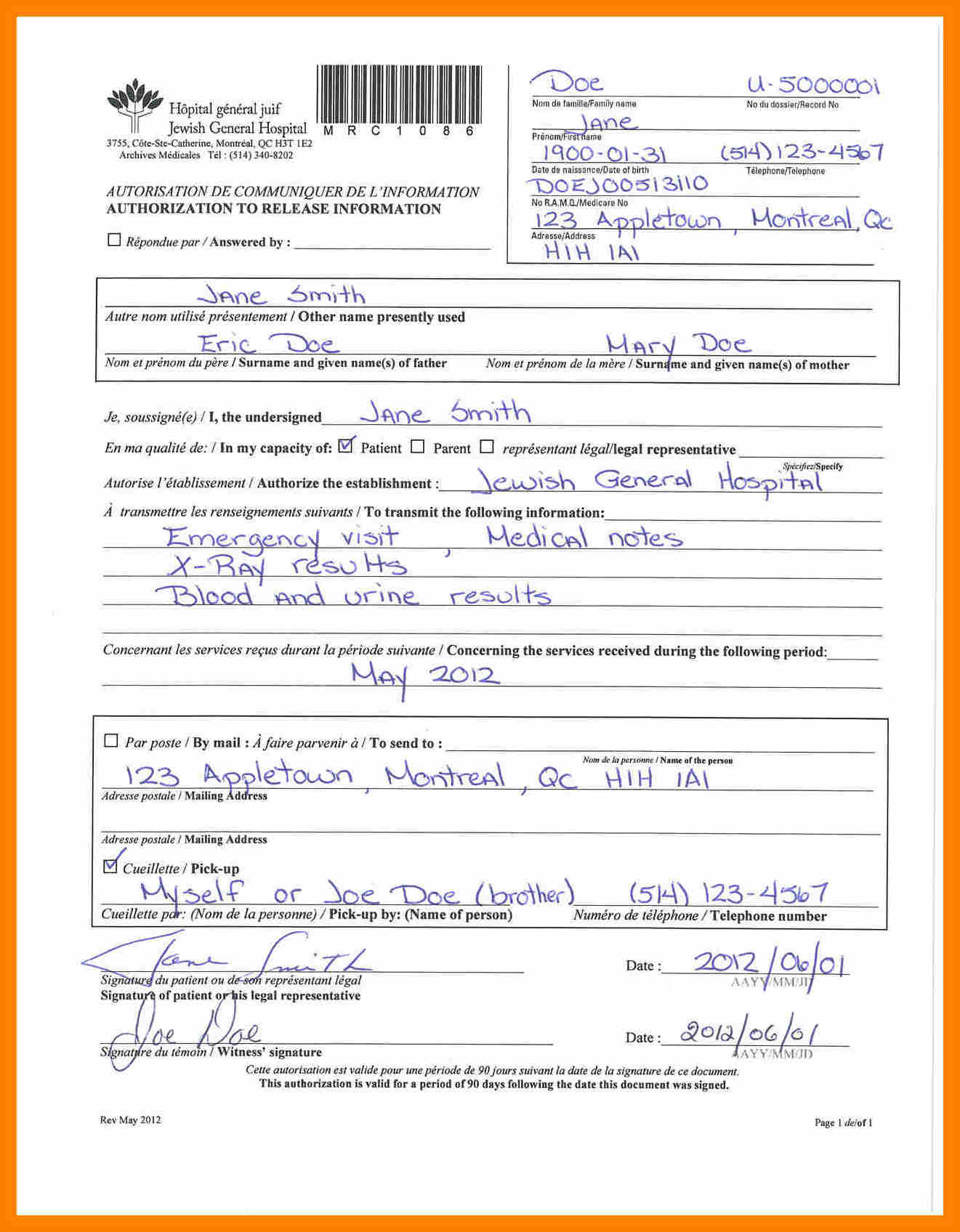 medical form example