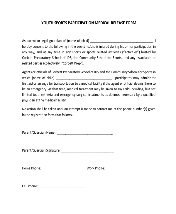 Youth Sports Participation Medical Release Form example