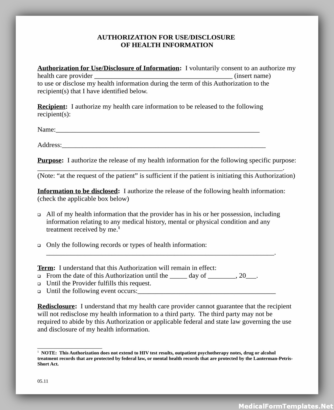 Medical Report Release Authorization Form