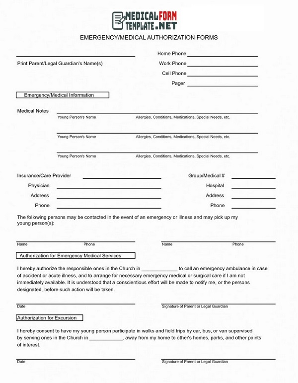 Emergency/Medical Authorization Form Template