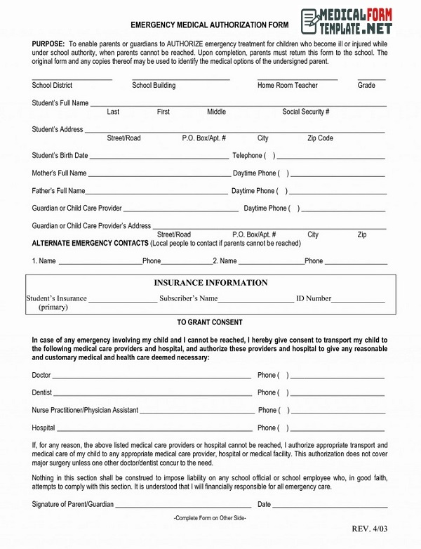 Emergency Medical Authorization Form Download