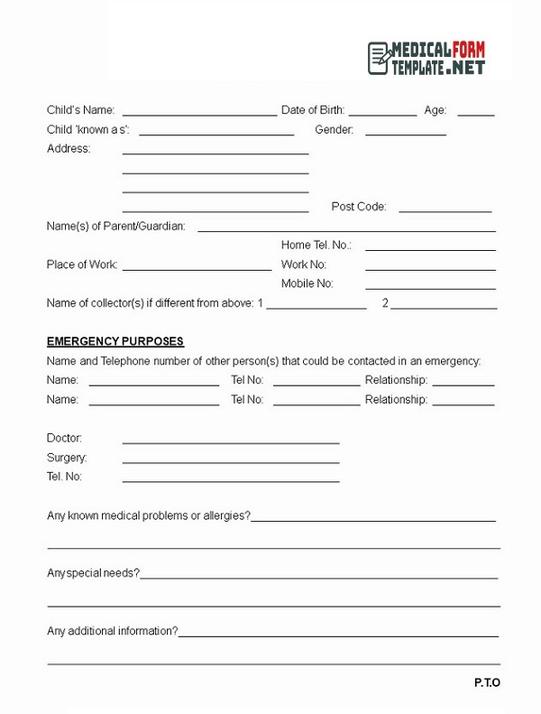Emergency Medical Form Template 06