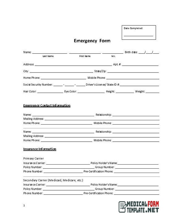 Printable Emergency Medical Form Template