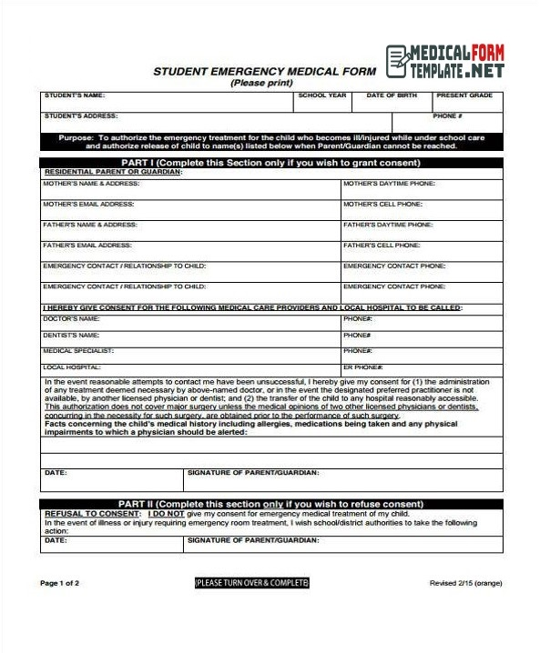 Student Emergency Medical Form Template