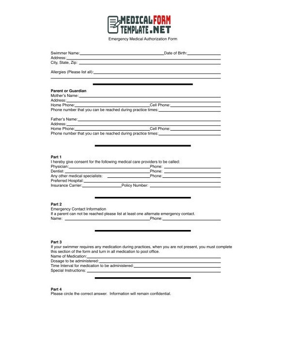 Emergency Medical Authorization Form Template