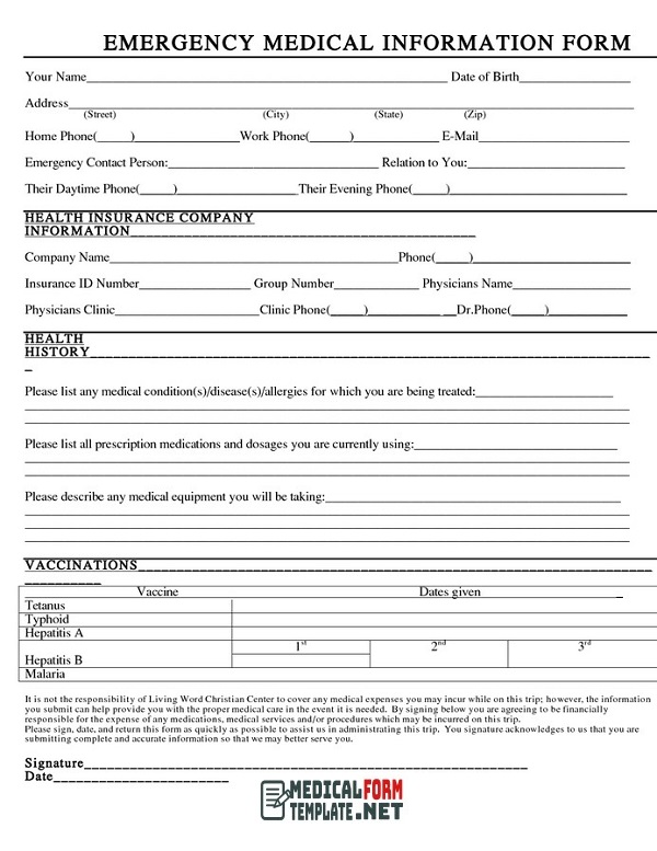Emergency Medical Information Form Template