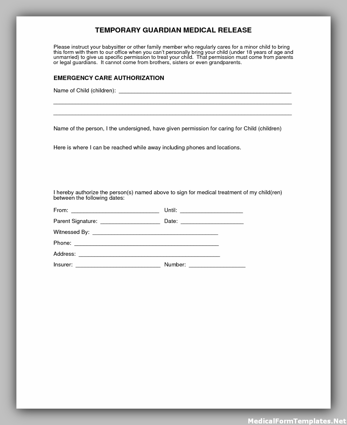 Temporary medical consent form for child