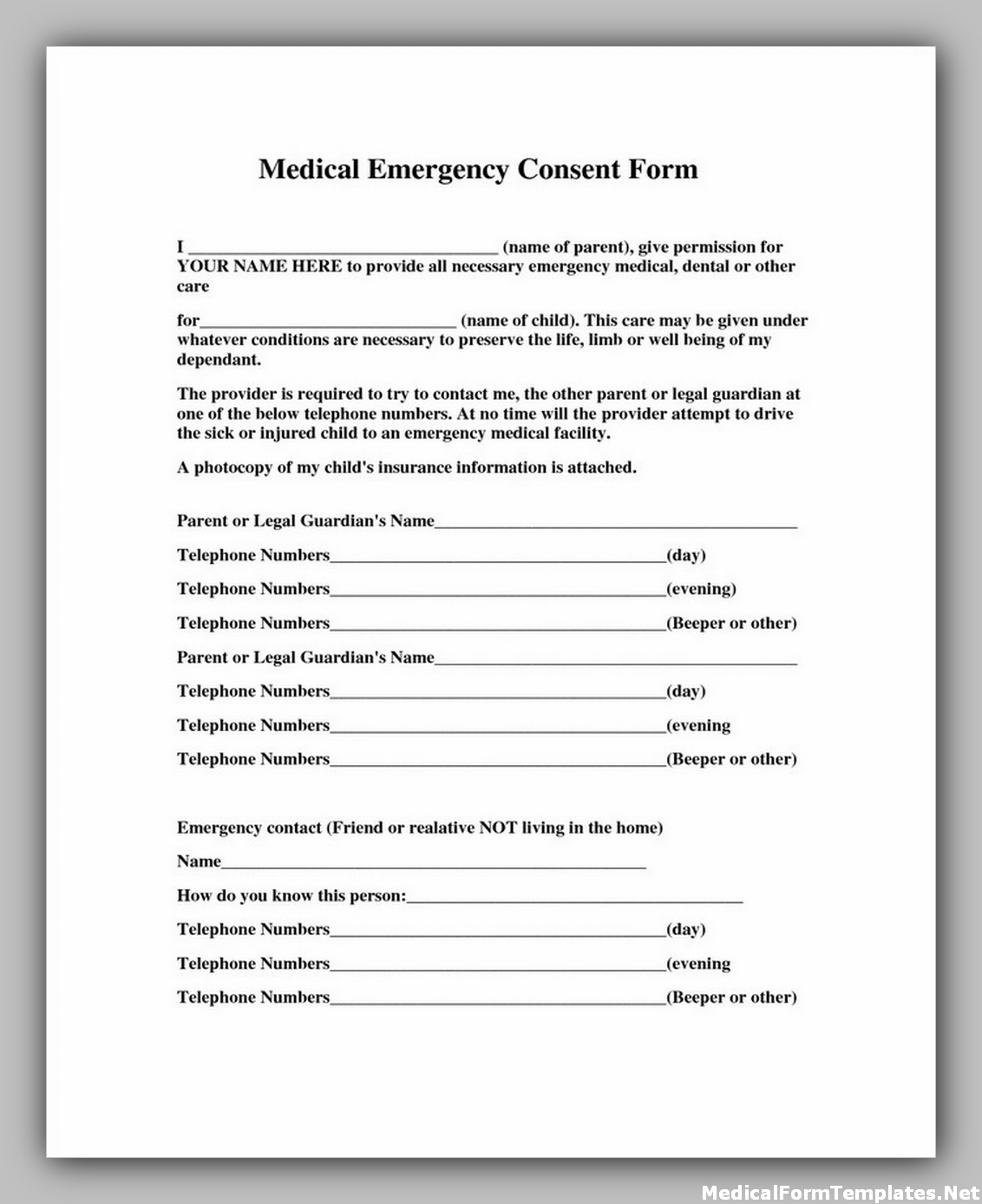Emergency medical consent form for child