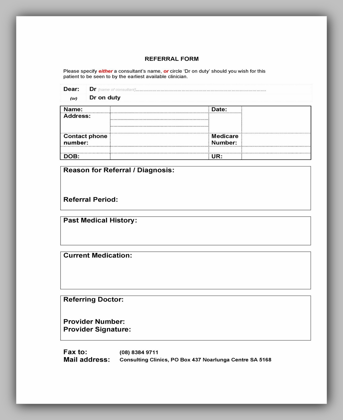 Medical Referral Form Template 23