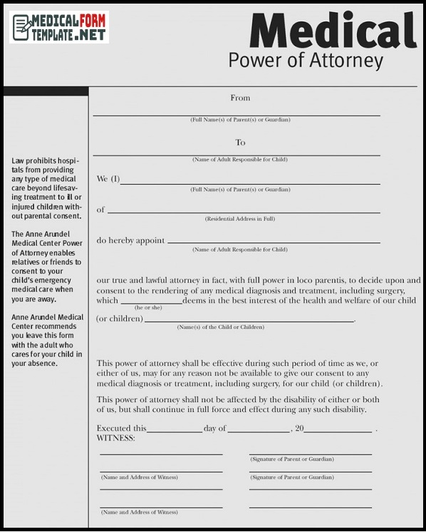 medical power of attorney form pdf